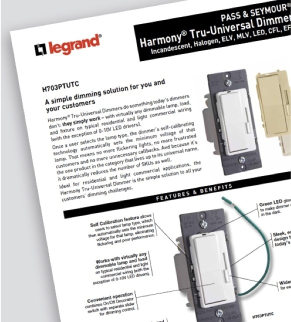 radiant Collection by Legrand Tru-Universal cut sheet