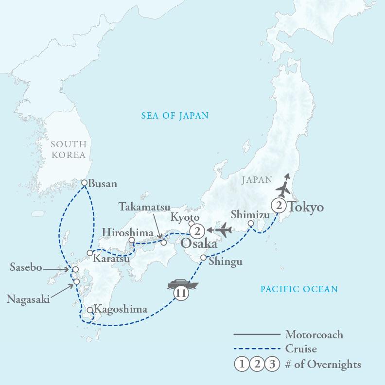 Tour Map for Spirit of Japan
