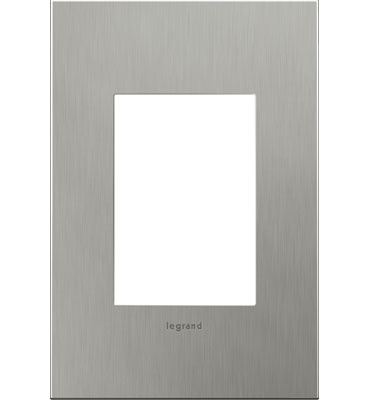 adorne 1-Gang+ Brushed Stainless Steel Wall Plate