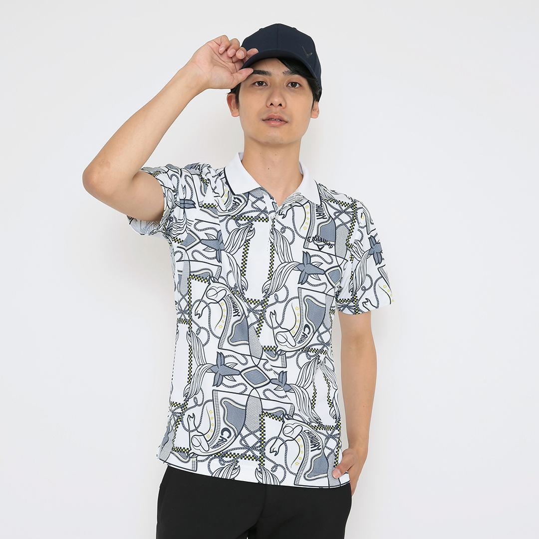 CALLAWAY スカーフプリントカノコ半袖シャツ (MENS)