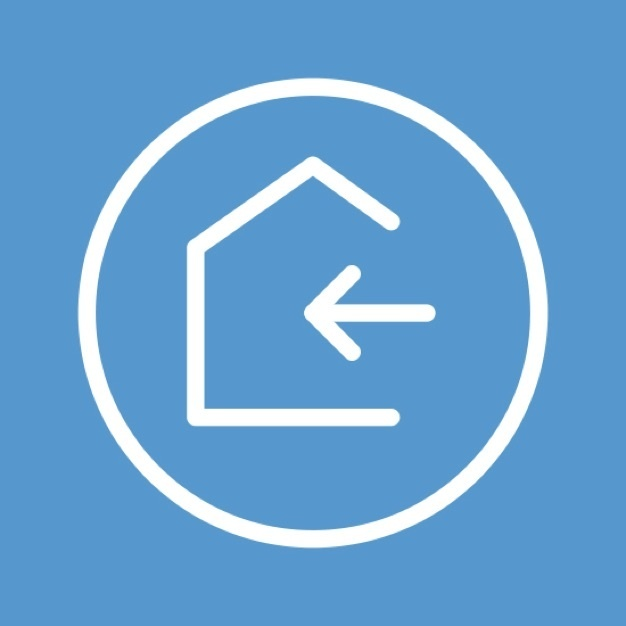 Go back in the house icon in light blue background