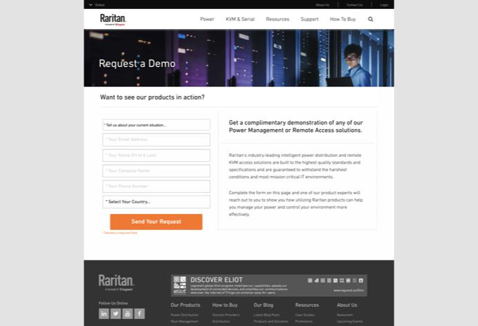 Screenshot of Raritan's request a demo web page