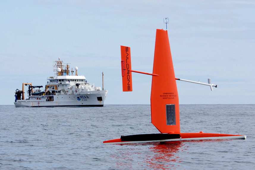 An earlier generation saildrone in the Bering Sea with the NOAA research ship Oscar Dyson.
