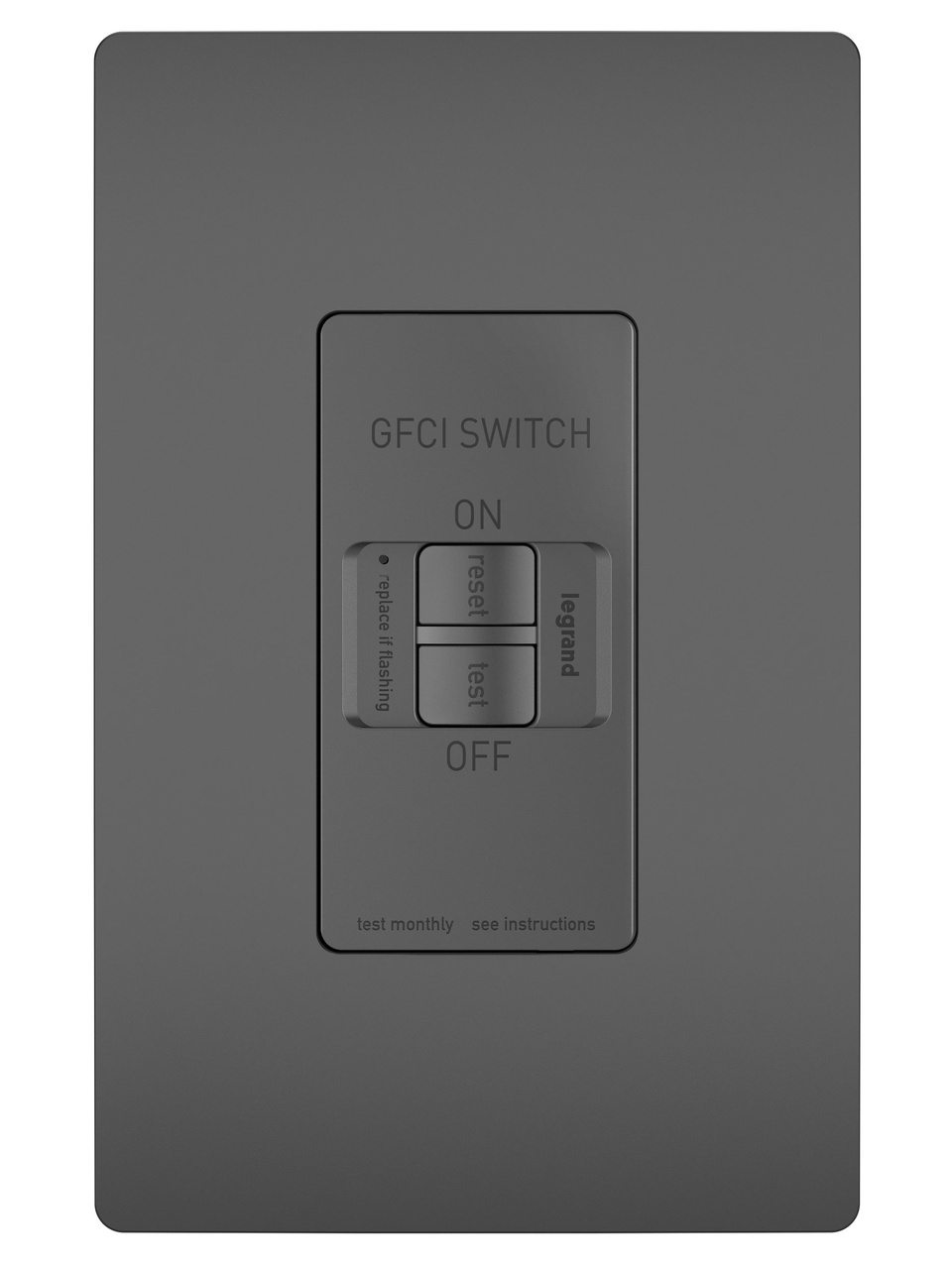 Spec-Grade Dead Front 20A Self-Test GFCI Receptacle, Black