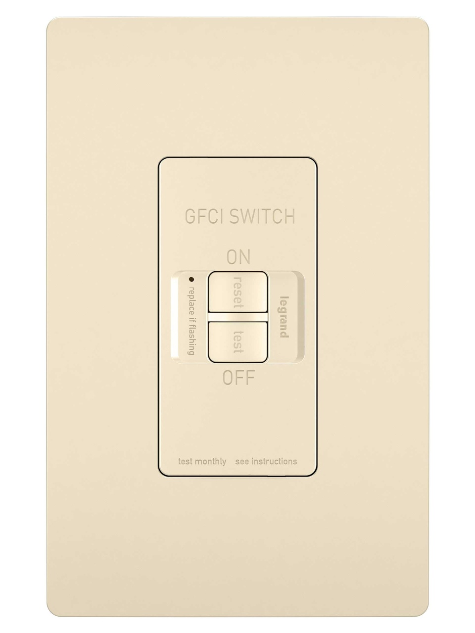 Spec-Grade Dead Front 20A Self-Test GFCI Receptacle, Light Almond