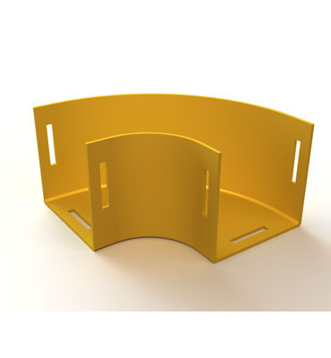 "Mighty Mo Fiber Raceway, Horizontal Elbow 90deg, 4"" x 2"", yellow - OR-MMFHE904X2-Y"