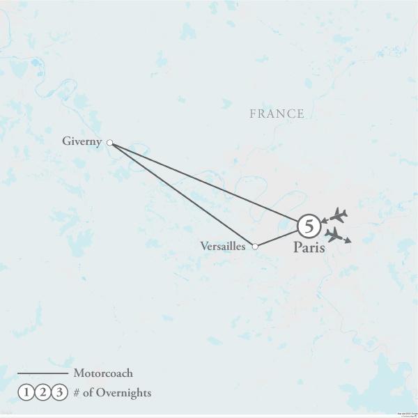 Tour Map for Springtime in Paris