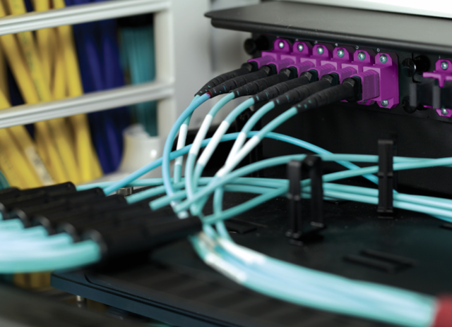Teal fiber cables for data center