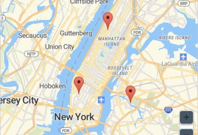 Google Map Snippet of New York and New Jersey