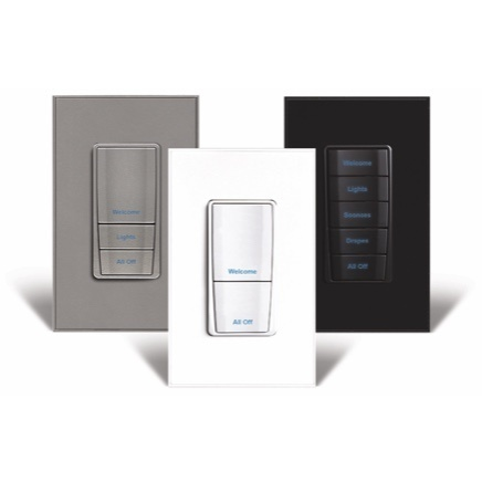 Three Vantage Keypad products in gray, white, and black