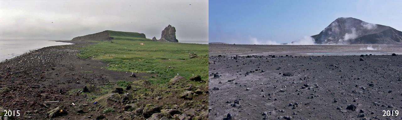 On the left, Bogoslof Island before the last eruption in 2015. On the right, Bogoslof Island in 2019.