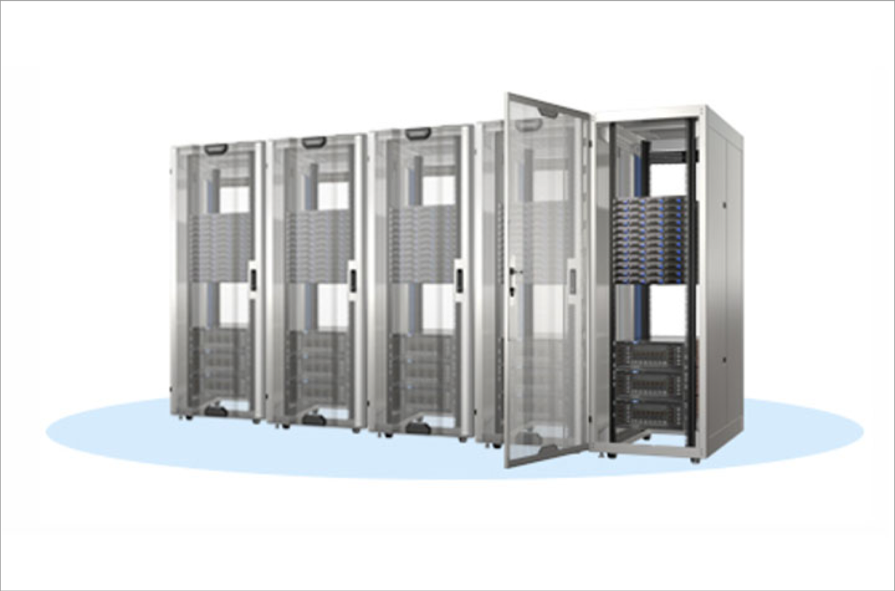 Image of server cabinets with smart rack with a smart lock system