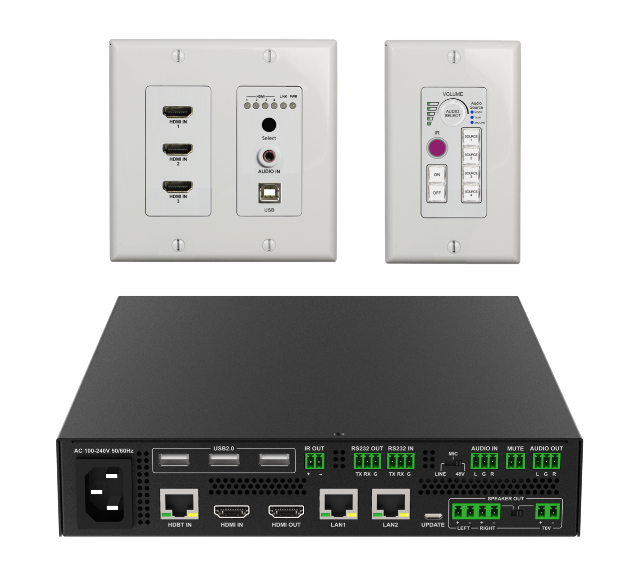 DL-ARK-4HC - Advanced Room Kit for Classroom / Training Room / Conference Room with 4x1 Switching, HDMI, & USB Extension, Audio Amp, Display Control, & Centralized Monitoring / Control Software