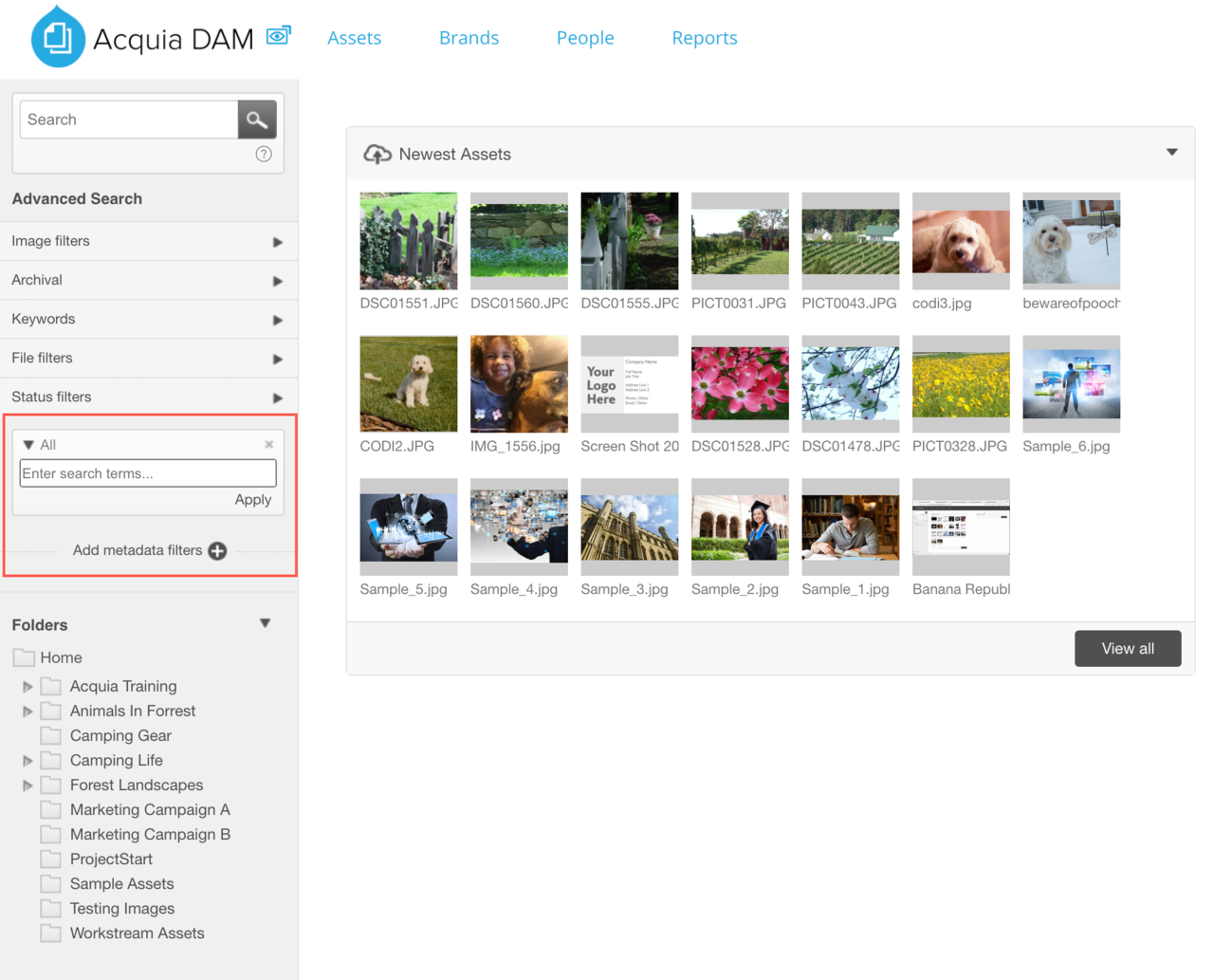 Dam_Add metadata filters