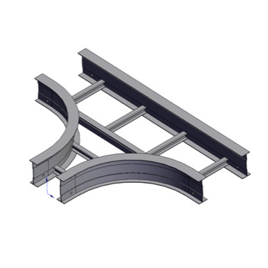 Cable tray 3D rendering of metallic horizontal fitting reducing tee section