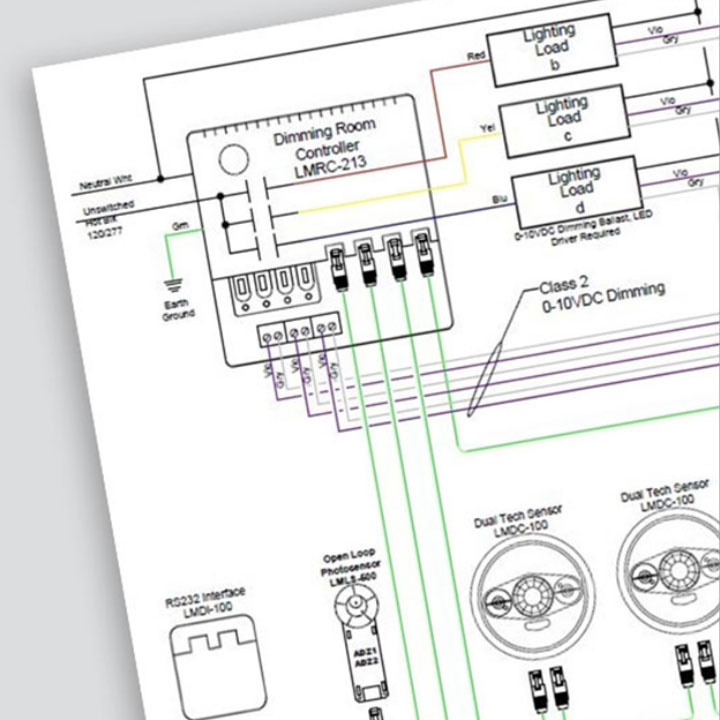 Example of a wiring diagram viewed at an angle in front of a grey background