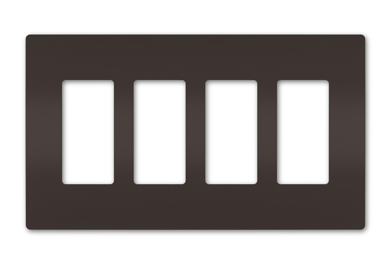 Four-Gang Screwless Wall Plate, Brown