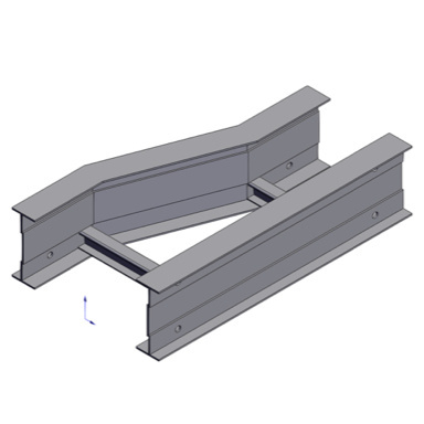 Cable tray 3D rendering of metallic horizontal fitting reducer right section