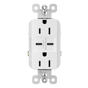 6.0A Ultra-Fast Type C/C USB Chargers with Duplex 15A Tamper-Resistant Outlet, White