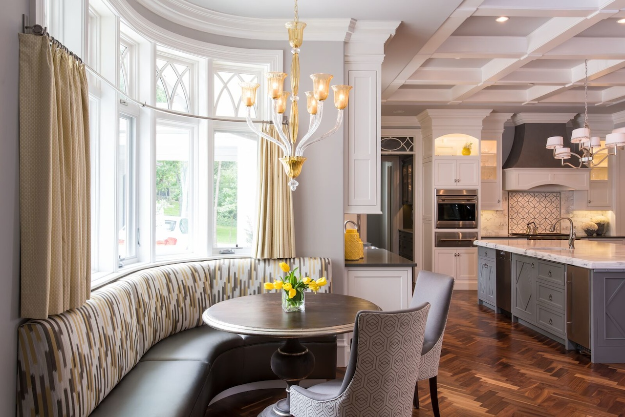 Gray And Yellow Tones Distinguish The Banquette Area Of Kitchen Light Fixture Table