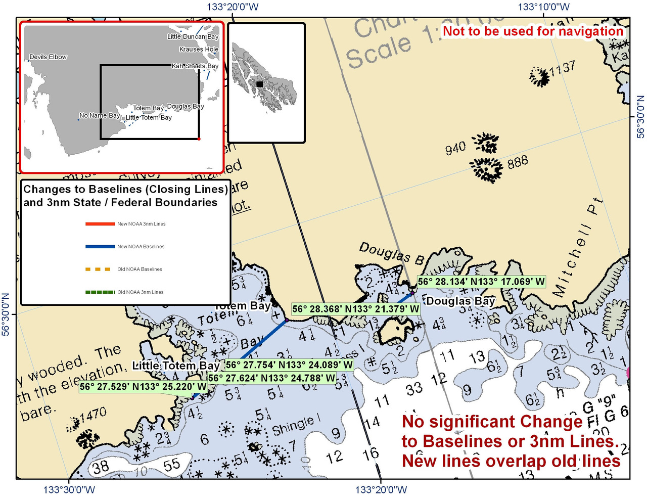 Chart for Douglas Bay and Totem Bay