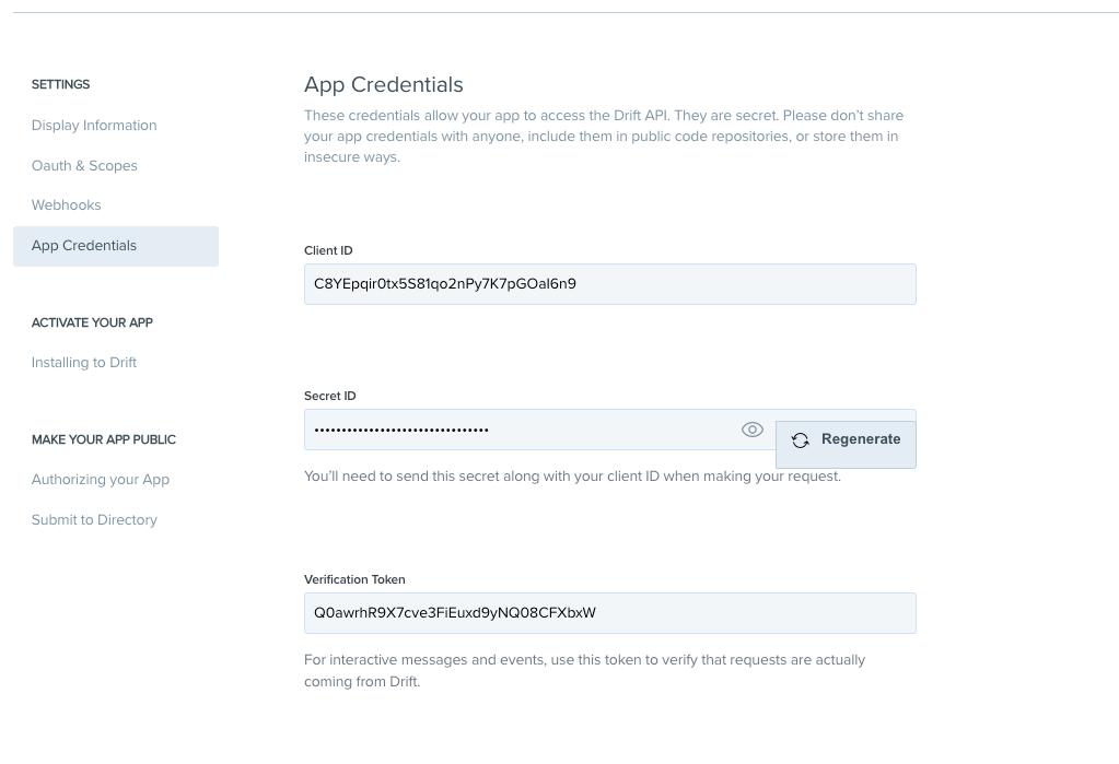 Campaign Studio Drift app configuration page