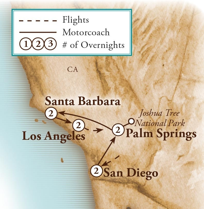Tour Map for Southern California Dreaming
