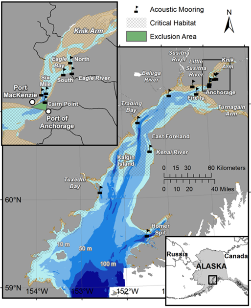 Locations where acoustic moorings were deployed to monitor beluga whales from July 2008 to May 2013, in Cook Inlet, Alaska.