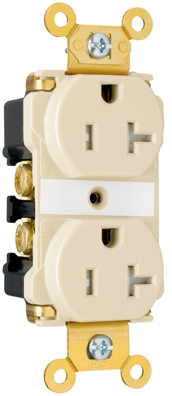 Grade Tamper Resistant Ivory 125V 20A Duplex Outlet Pass /& Seymour TR63-I Spec