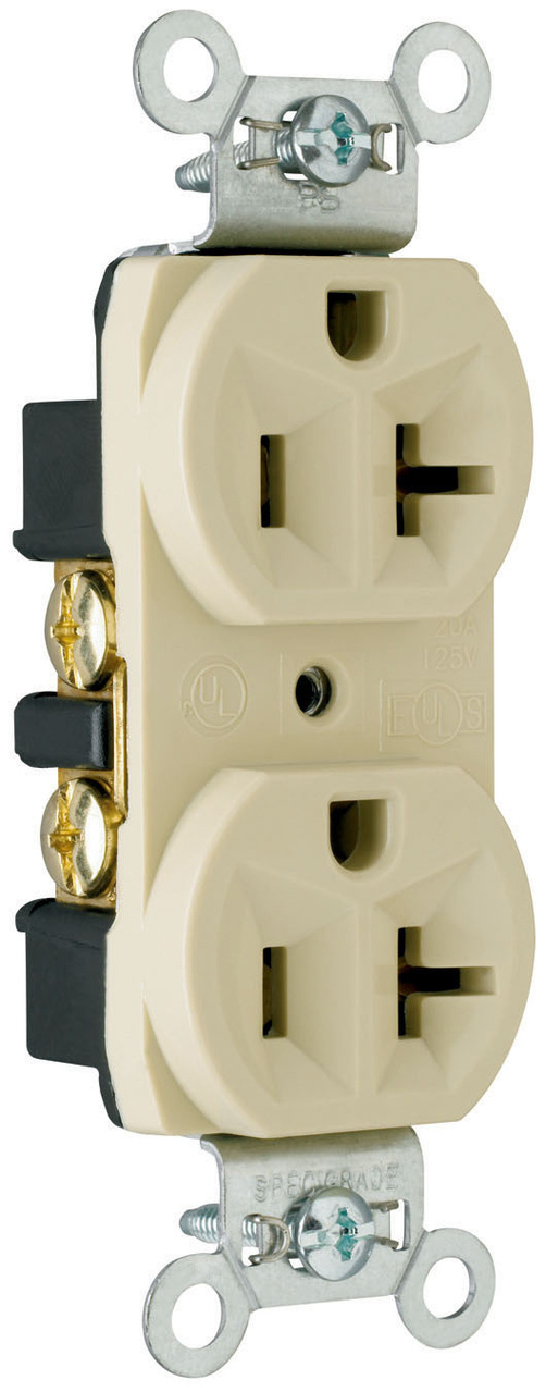 Construction Spec Grade Receptacles, Back & Side Wire, 20A, 125V, Light Almond