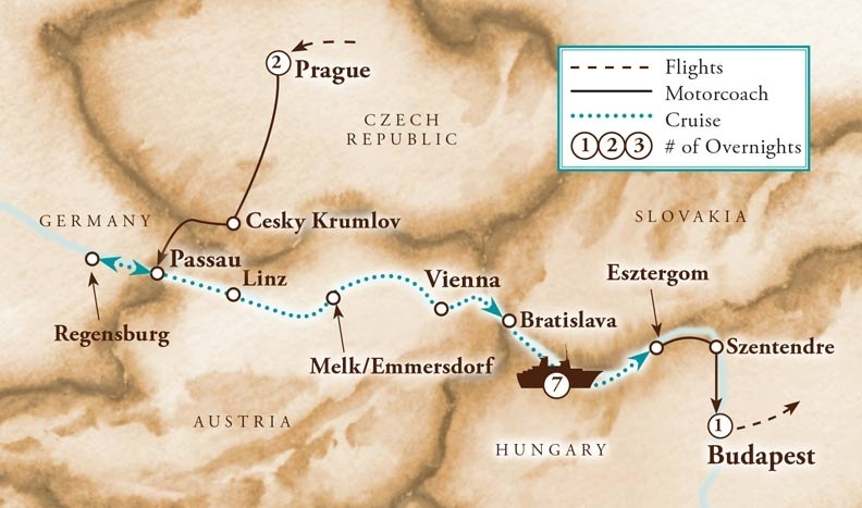 Tour Map for Blue Danube River Cruise