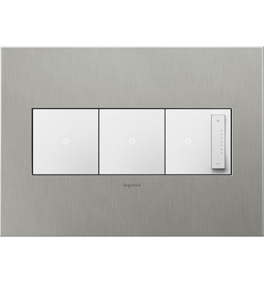 adorne 3-Gang Brushed Stainless Steel Wall Plate
