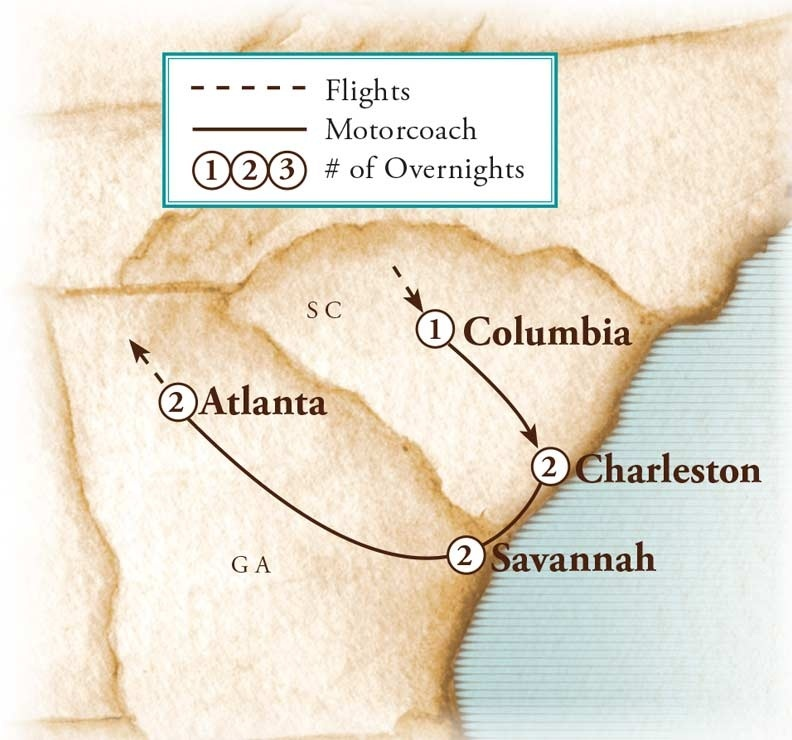 Tour Map for Charleston & Savannah: Coastal Charms