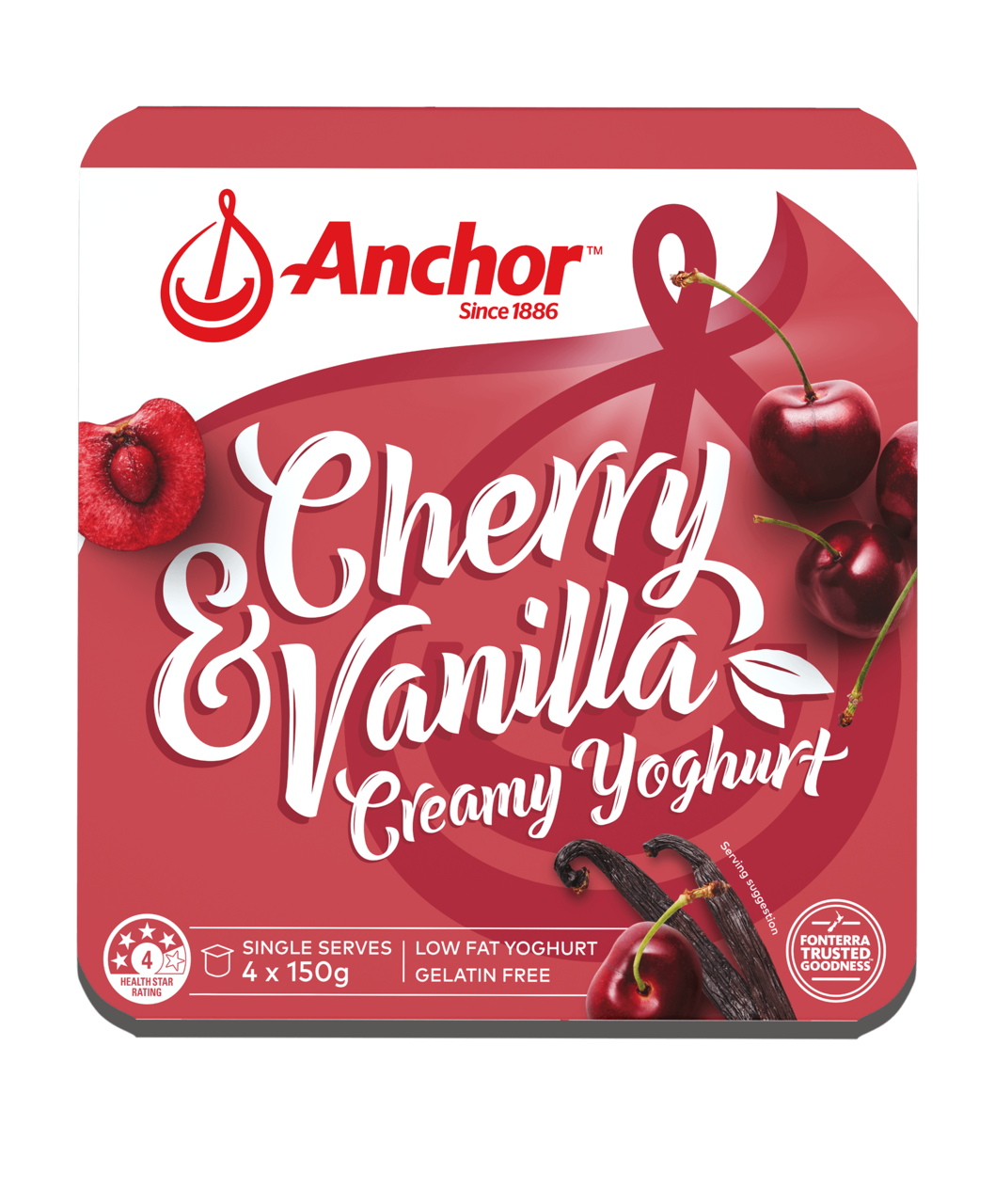 Anchor Cherry Vanilla Yoghurt 4 x 150g pack