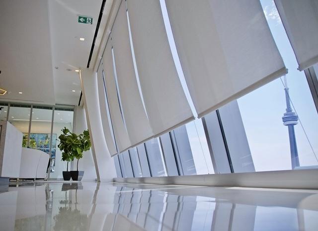 Commercial shading on large windows