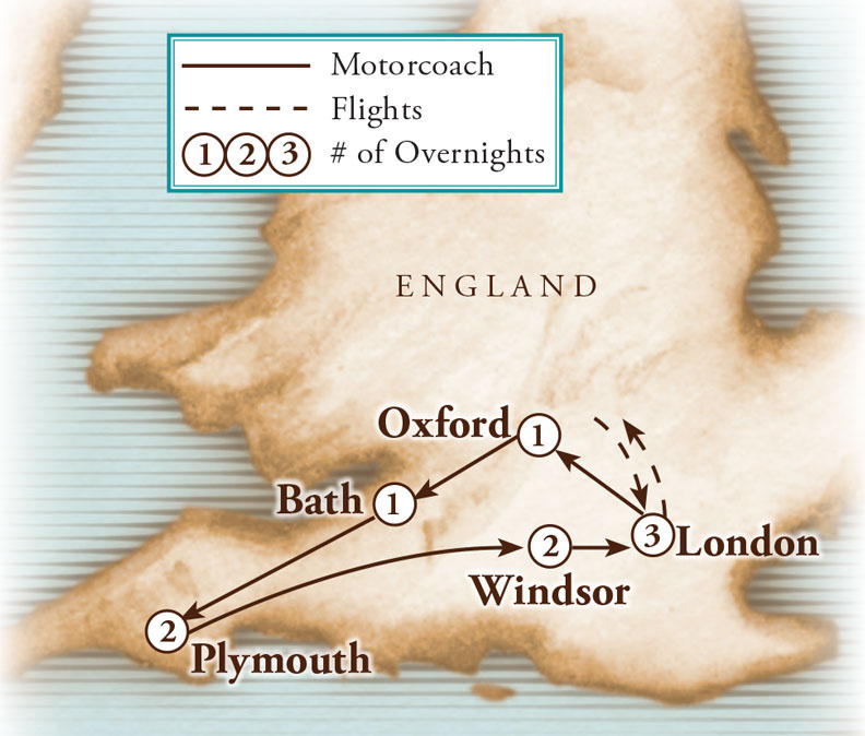 Tour Map for England & Cornwall, Towne & Country