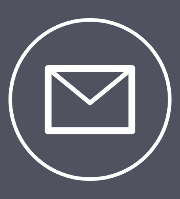 Email icon in dark purple with white outline