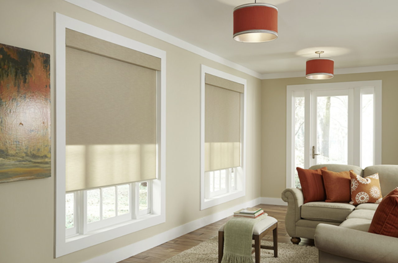 residential window shades on two windows in beige living room