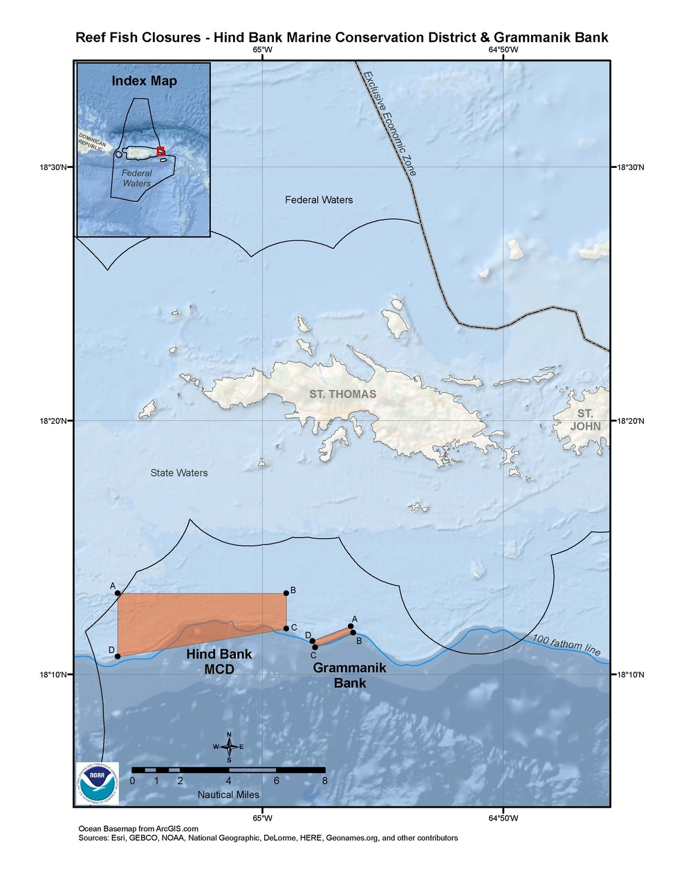 This is a map of the Hind Bank MCD closure area in the waters south of St. Thomas, U.S. Virgin Islands in the U.S. Caribbean.