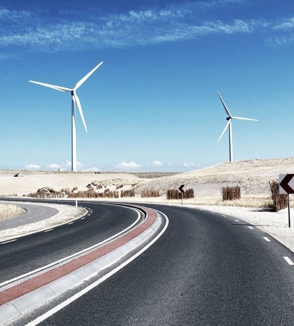 Windmills in the middle of the desert