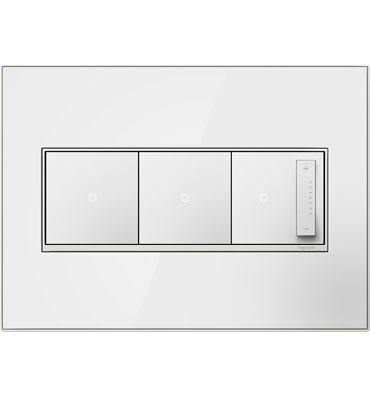 adorne 3-Gang White Mirror Wall Plate