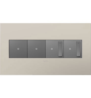 adorne 4-Gang Griege Wall Plate