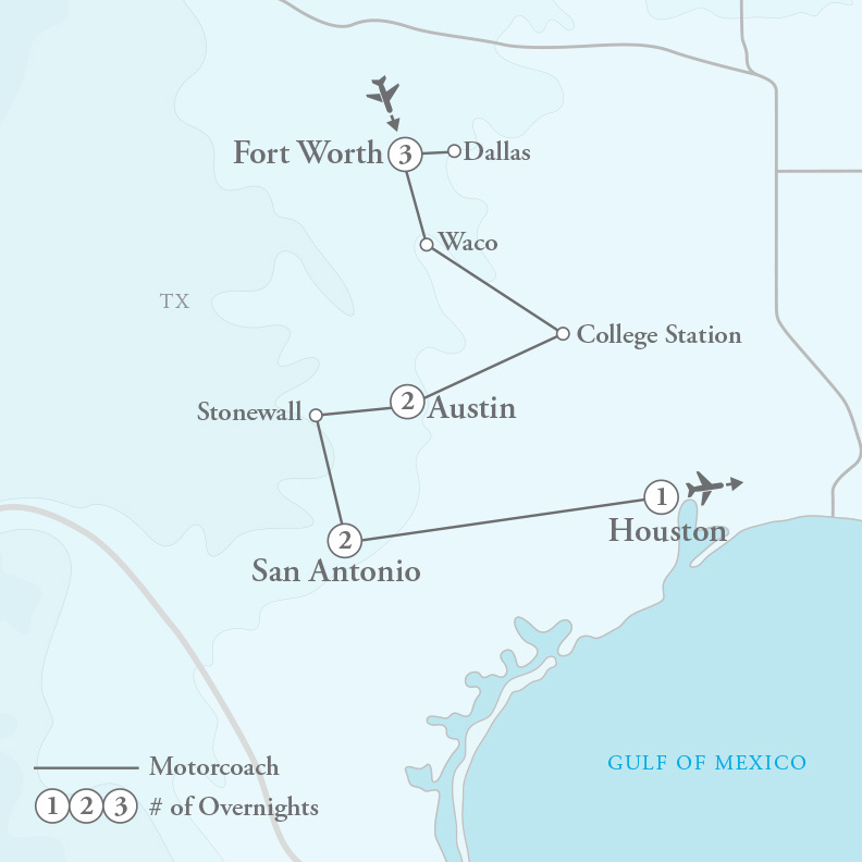 Tour Map for Best of the Lone Star State