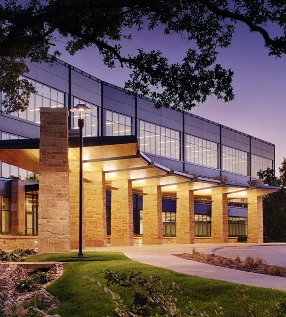 College campus with modern building design and architectural lighting