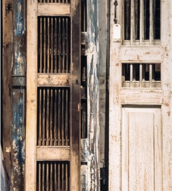 thin rustic distressed wooden doors