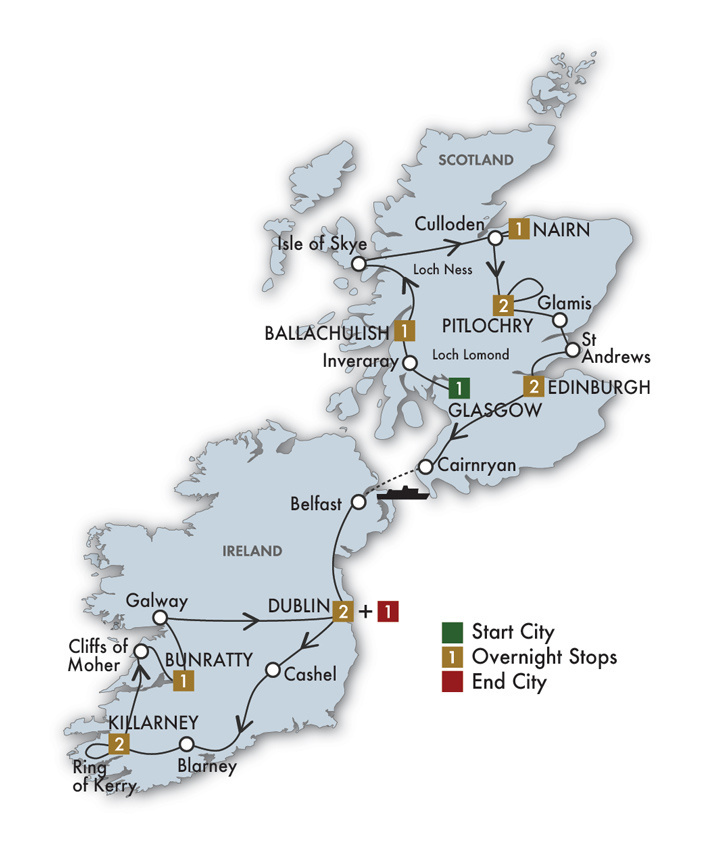 CIE Tours Tour Map  - 2021 - 14 Day Scottish & Irish Dream
