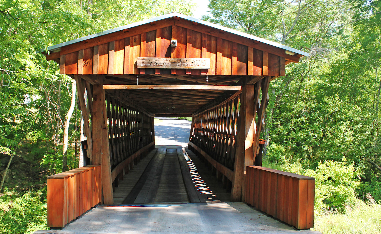 Old Easley Bridge is the oldest and shortest of the three historic covered bridges still existing in Blount County.