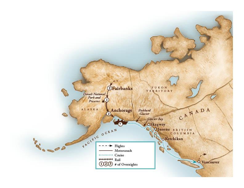 Tour Map for Ultimate Alaskan Rail & Cruise Adventure