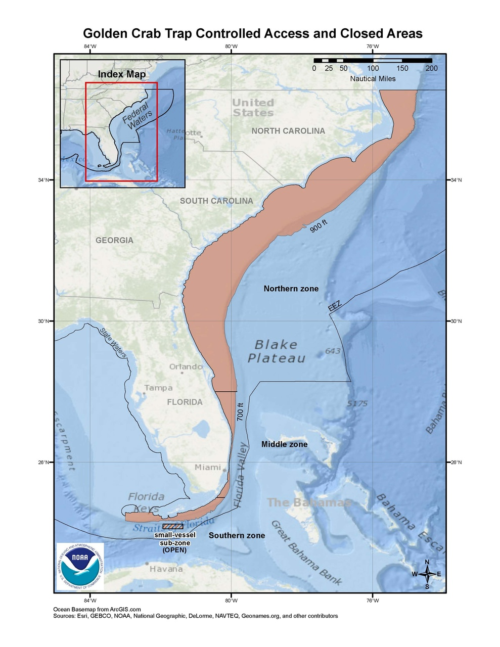 This is a map of golden crab trap fishing zones and closed areas in the South Atlantic Region.