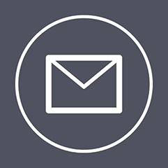Email icon in white with dark blue background